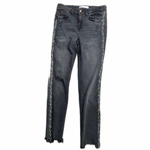 ZARA Distressed Snake Side Stripe Jeans Size 4